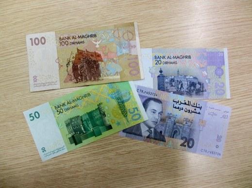 Moroccan money dollar bills dirham