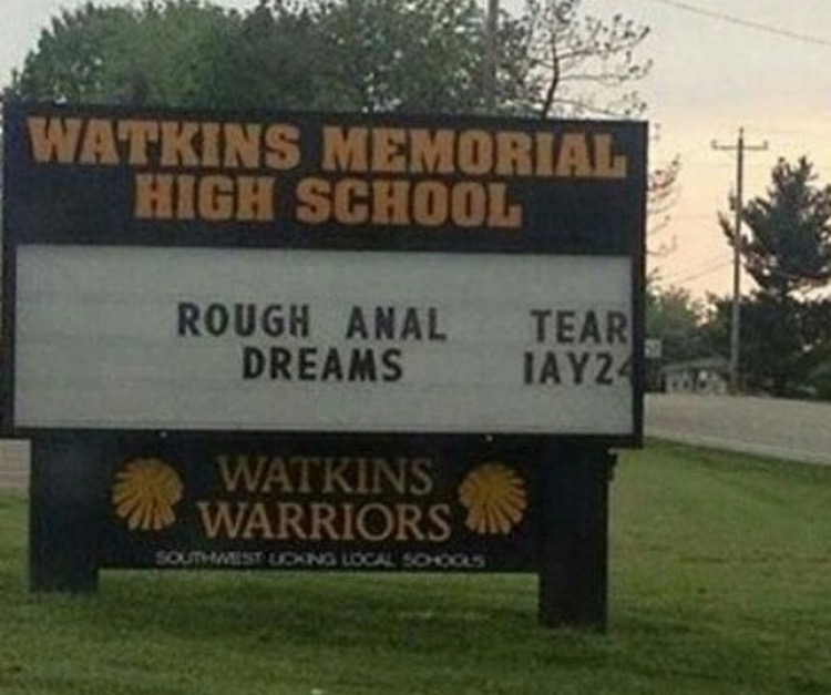 Messed Up High School Sign