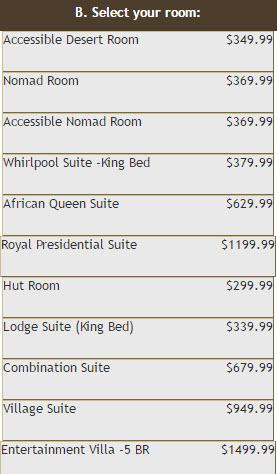 Kalahari Room Rates