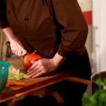 Kürbiscremesuppe, Matjes mit Quellmännern, Quark und dazu Feldsalat