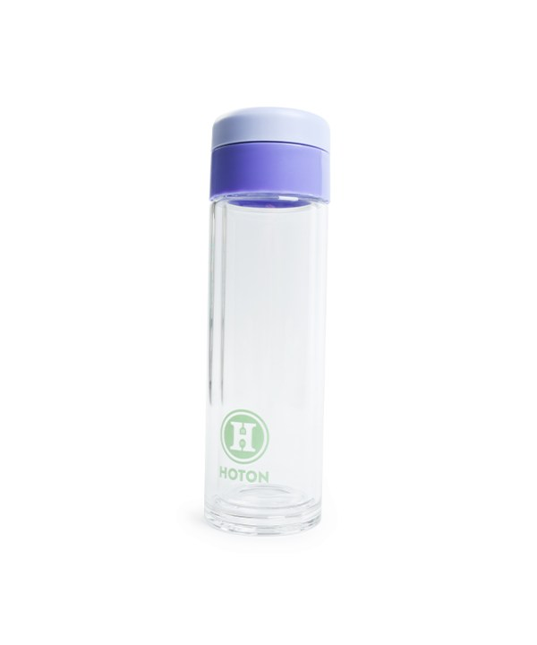 Mid-sized Double Layer Glass Tumbler with Rotating Cover (Violet)