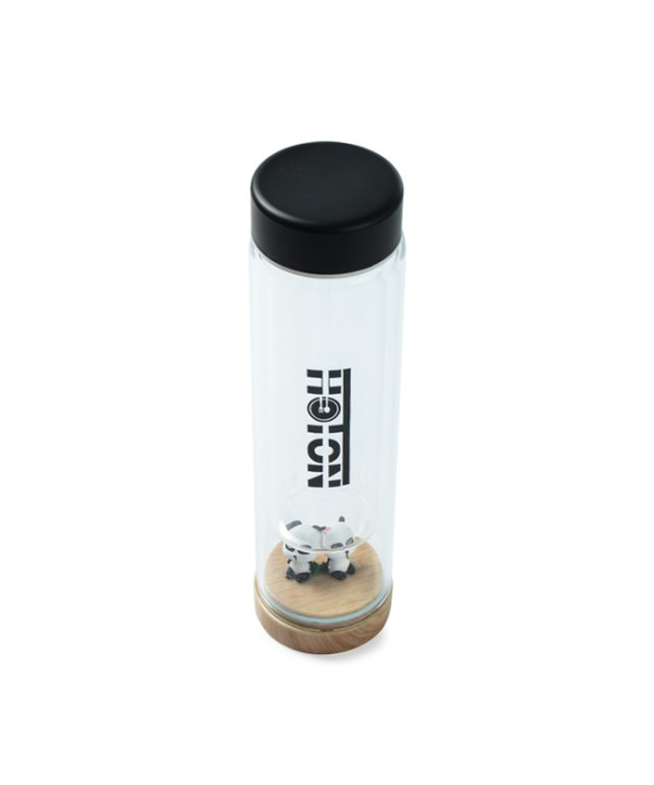 Glass Panda Tumbler with Wooden Bottom (Black)