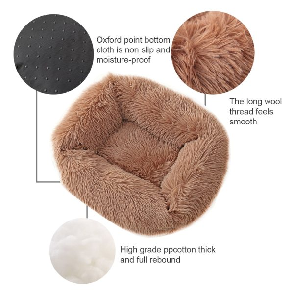 Dogs Long Plush Solid Bed