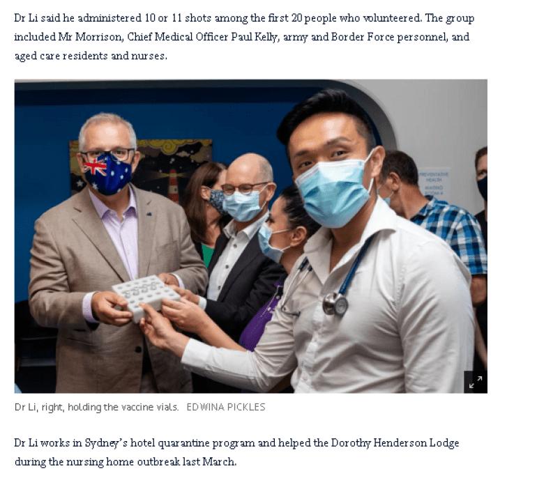 给澳大利亚总理莫里森注射疫苗的是华人医生?这才是华裔成功之路