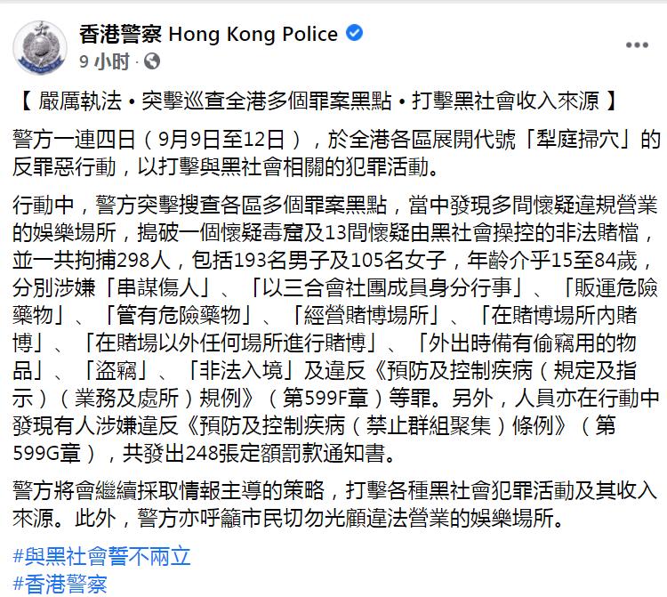 香港警方脸书截图