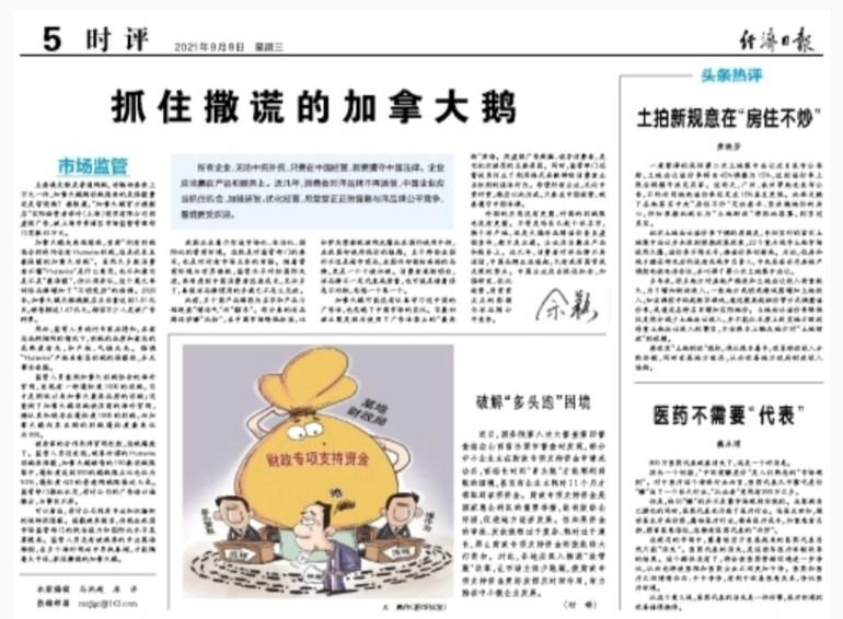 """中国驻蒙特利尔总领馆回应""""撒谎的加拿大鹅""""被罚:政治化解读是无稽之谈"""