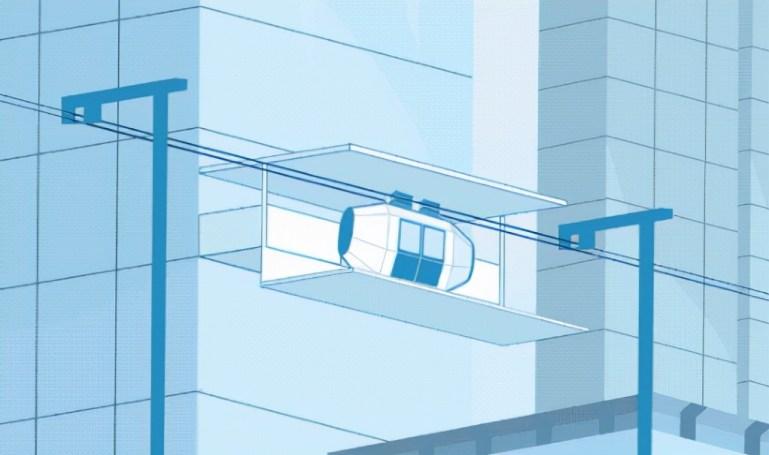 日本发明了空中公交,车站可直接建在大楼外墙
