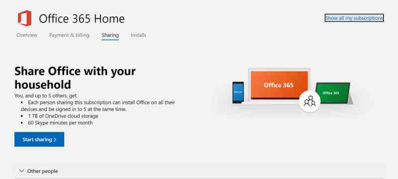 Chia sẻ Office 365 Home