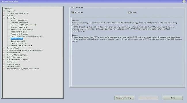 Cấu hình PTT trong BIOS