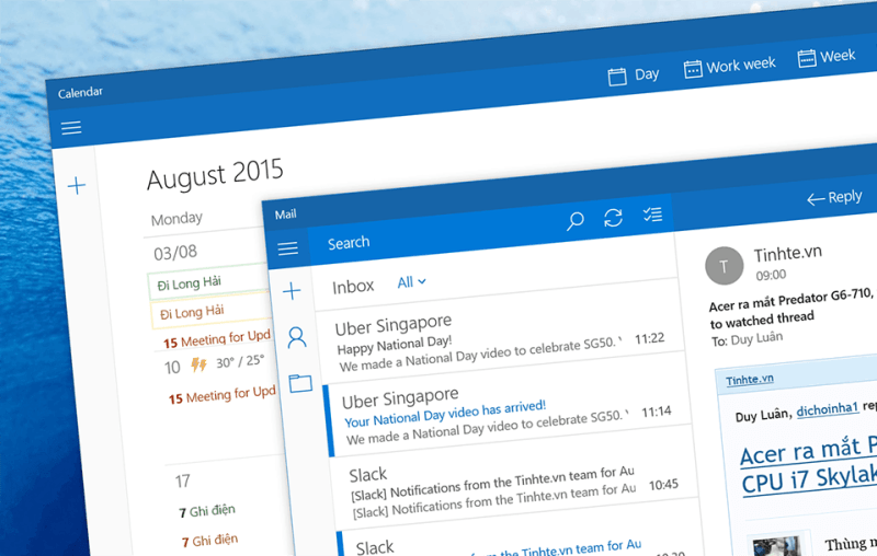 Mail app trên Windows 10