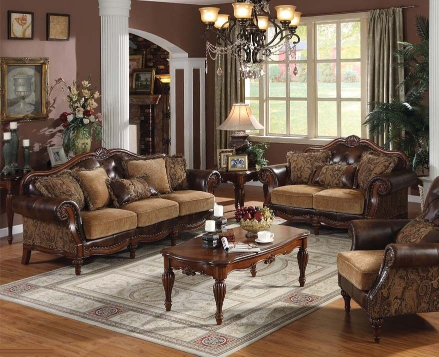 Formal Leather Sofa Loveseat Chair Set Acme