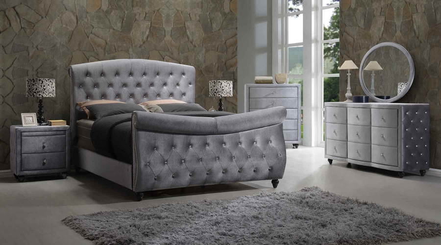 4pc Set Contemporary Bedroom Furniture Queen Size Grey