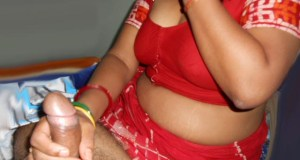 Indian hot mom wear red blouse