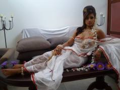 Honeymoon girl transparent saree