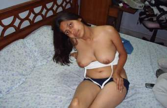 Indian housewife removing bra nude