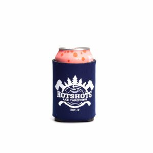 Short Dark Blue Hotshots Axe Throwing Koozie