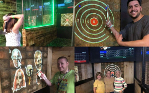 Four image collage of people posing in front of new Hotshots Axe Throwing projected axe throwing targets and games.