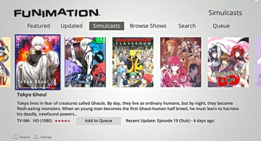FUNimation Simulcast Menu