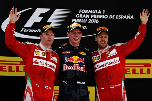 MONTMELO, SPAIN - MAY 15: Max Verstappen of Netherlands and Red Bull Racing, Kimi Raikkonen of Finland and Ferrari and Sebastian Vettel of Germany and Ferrari celebrate on the podium during the Spanish Formula One Grand Prix at Circuit de Catalunya on May 15, 2016 in Montmelo, Spain. (Photo by Mark Thompson/Getty Images)
