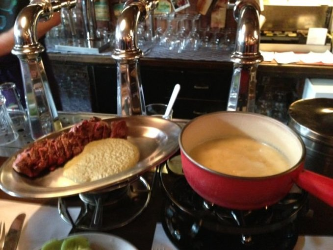 Cheese fondue and entrecote at Cafe Bern Amsterdam
