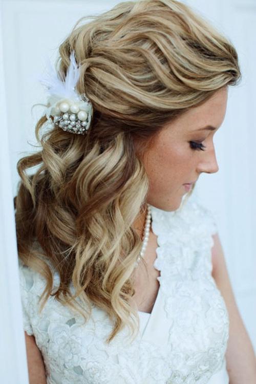 wavy-half-up-half-down-wedding-hairstyle