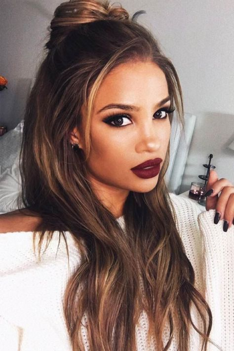 Top Knot Straight Hairstyles for Long Hair