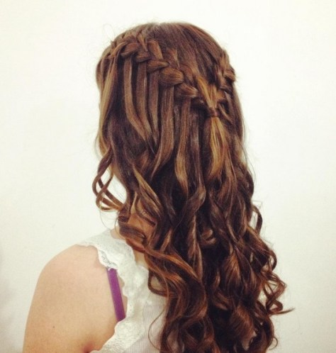 Long Hairstyles with Waterfall Braid