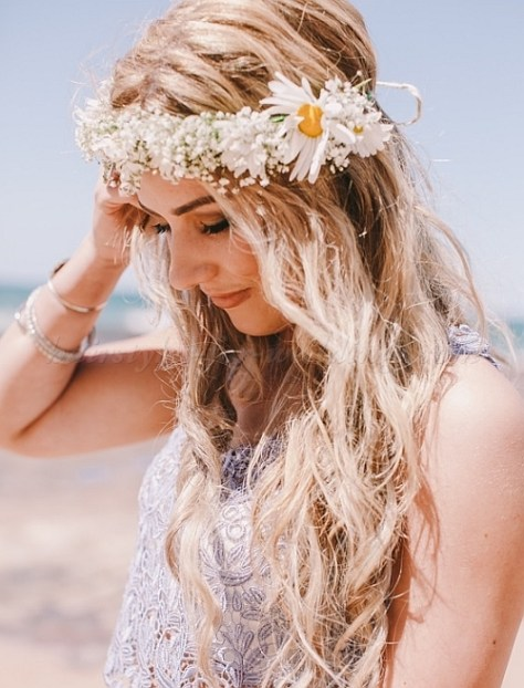 Beach Wedding Hairstyle with Floral Wreath
