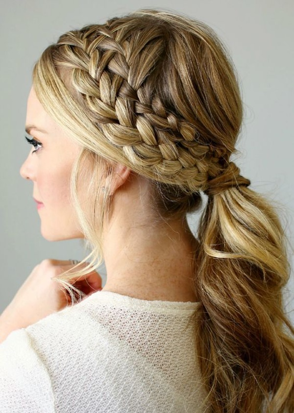 Side Braided Low Ponytail
