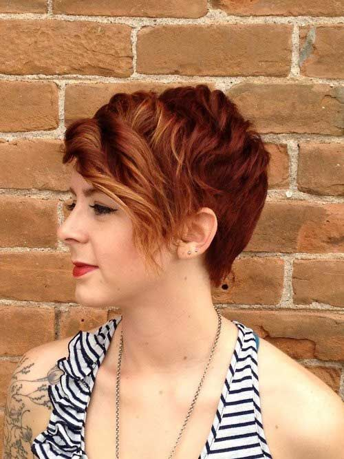 Red Head Rolled Bangs Pixie