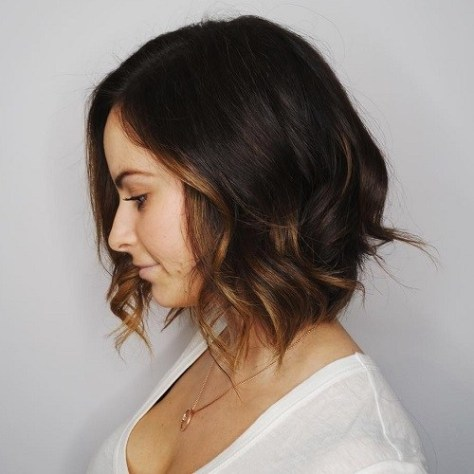 Dark Brown Wavy Bob Hair