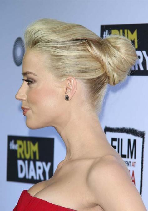 Amber Heard Swept Back Mid Updo
