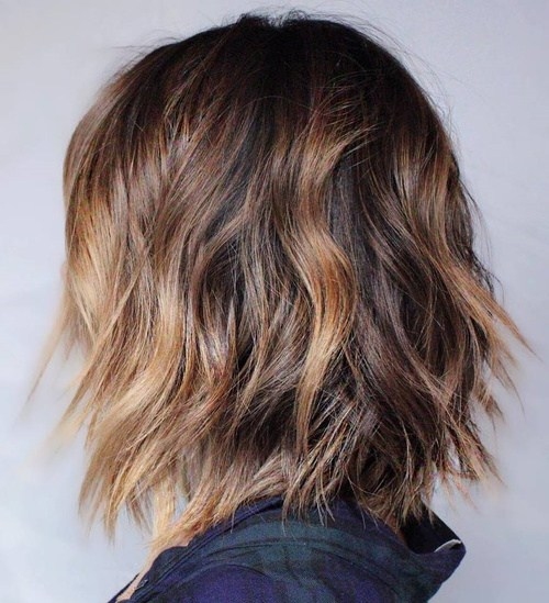Brown Balayage Shaggy Bob