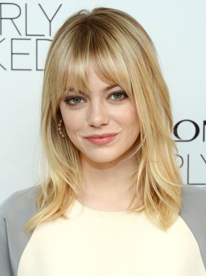 Center Parted Medium Hair with Bangs