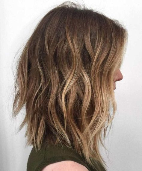 Long Bob with Light Brown Balayage