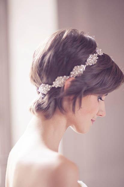 Long Wedding Pixie Cut with Headband