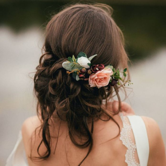 Messy Bridal Updo with Flowers