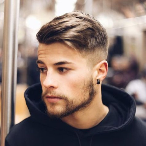 Thick Side Swept Hair with High Fade
