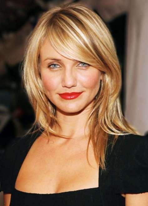 Medium Blonde Hair with Side Bangs
