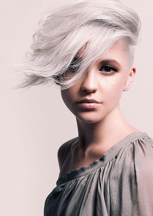 Deep Side Parted Grey Short Hair