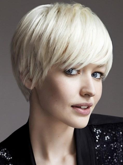 Short Blonde Hair with Sleek Bangs