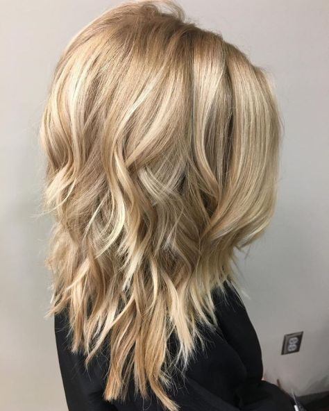 Wavy Layered Medium Hair