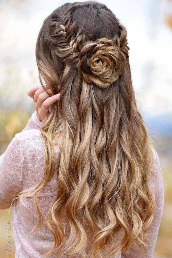 Long Blonde Hair with Braided Flower