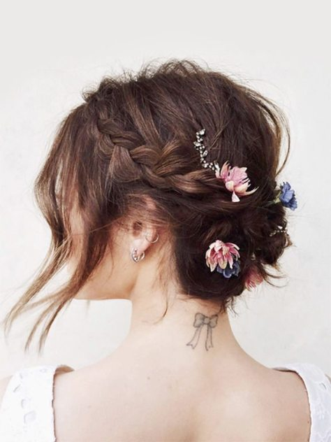 Textured Side Braided Updo with Flowers