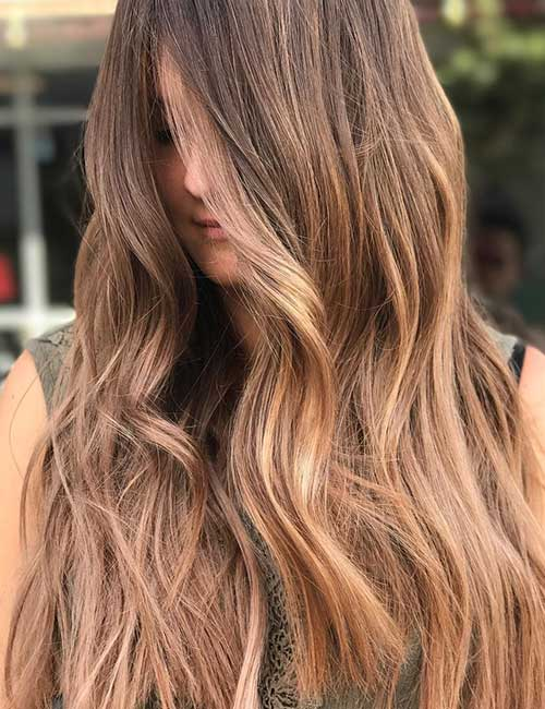 Light Brown Balayage Wavy Hair