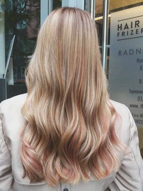Pink and Caramel Highlights on Long Hair