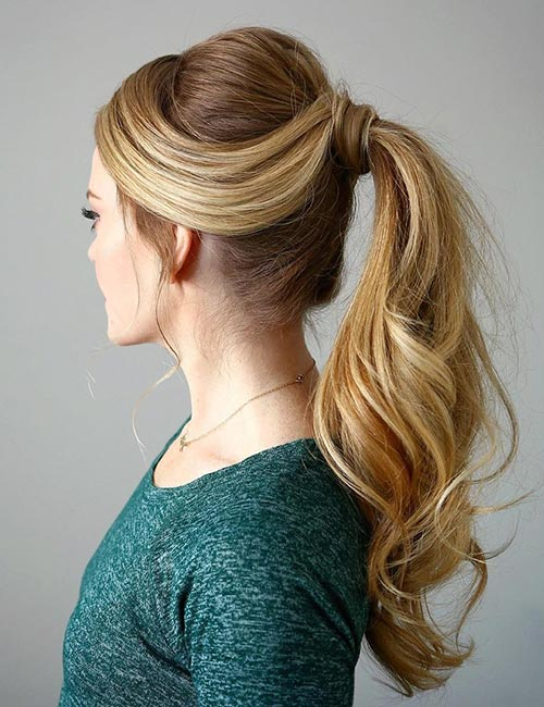 Long Blonde Wrapped Ponytail Hairstyle