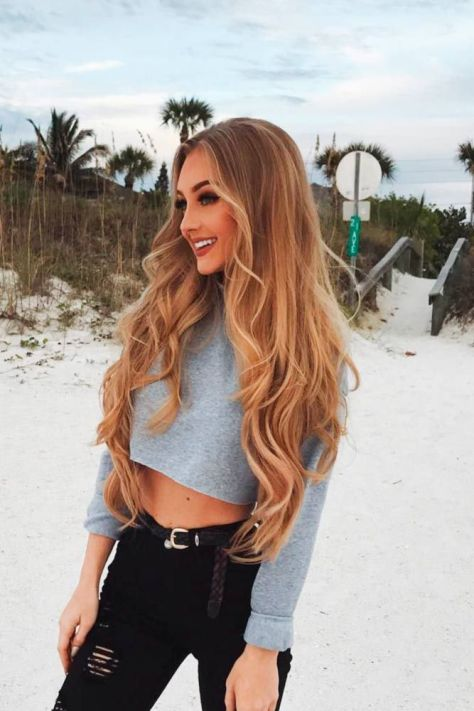 Middle Parted Long Wavy Brown Hair