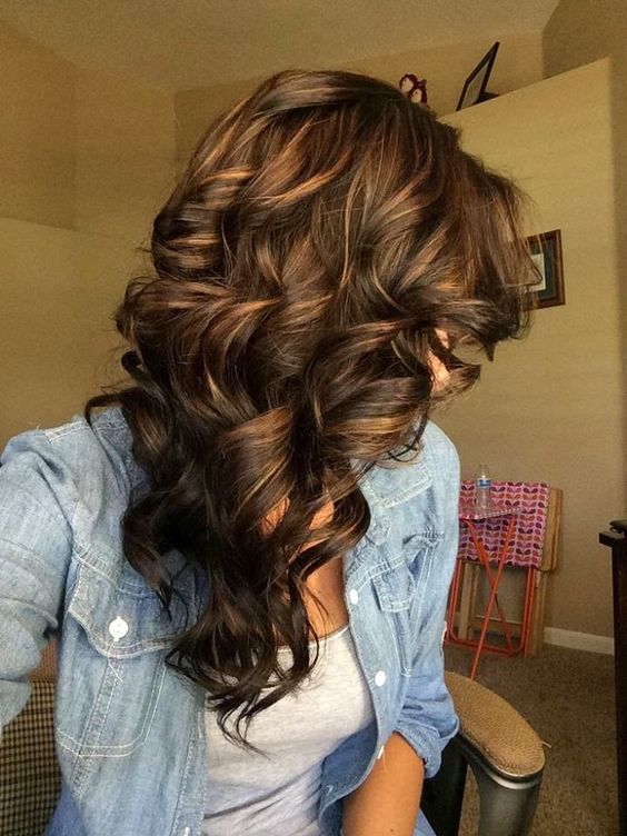 Deep Chocolate Curls with Caramel Highlight