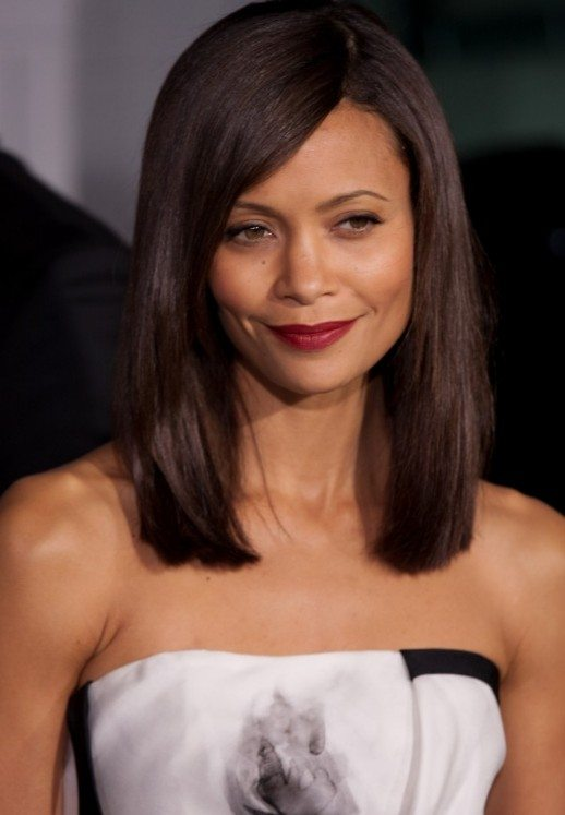 Medium Straight Hairstyle with Side Bangs